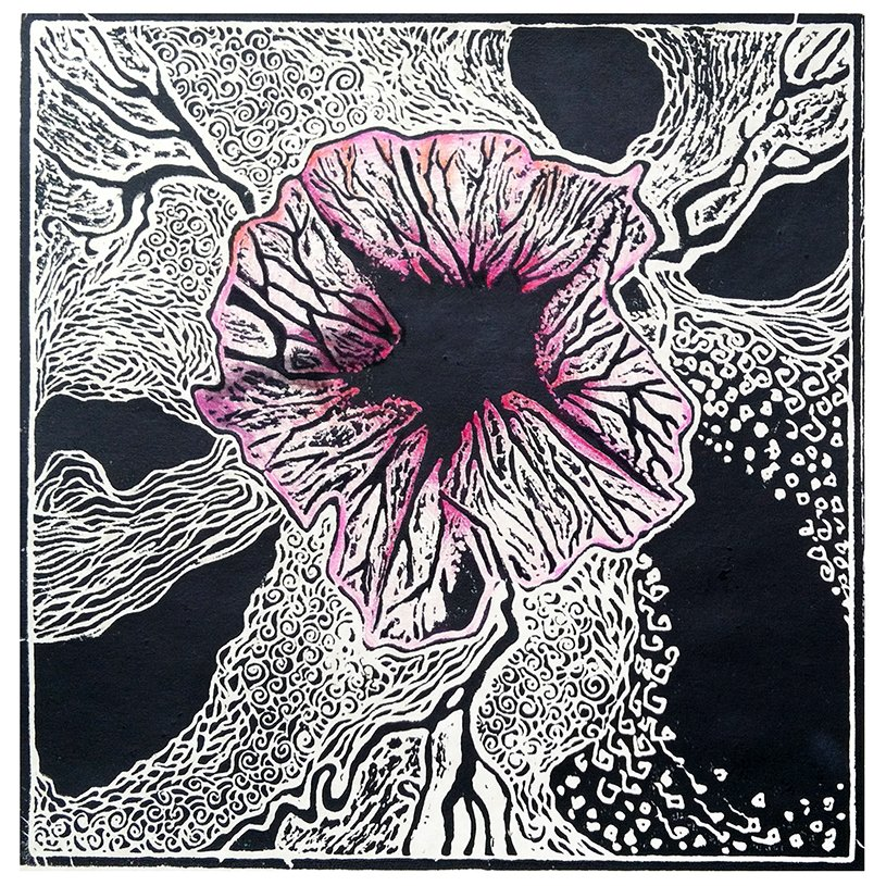 Petunia, block print, colored penci, 12