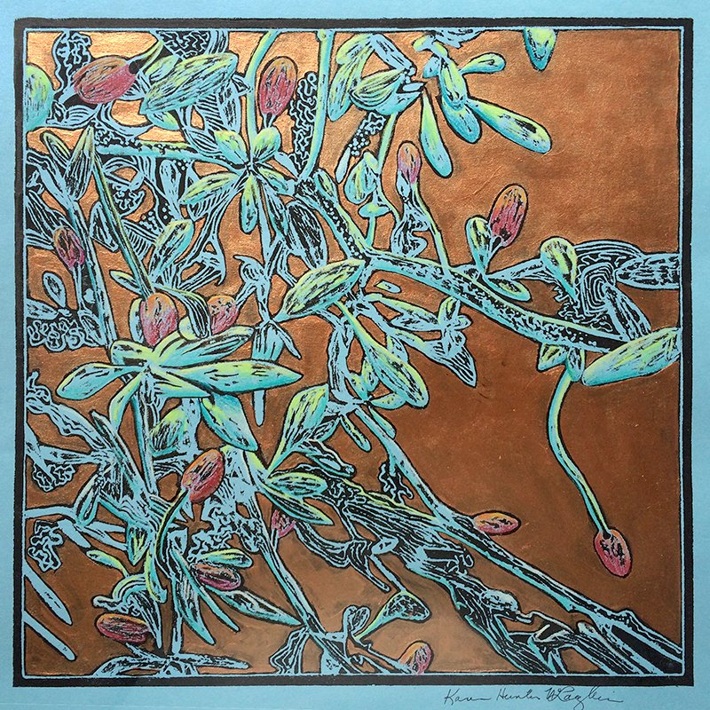 "VintageFall I, Polystyrene block print, colored pencil and bronze metallic acrylic, 12"" x 12"""