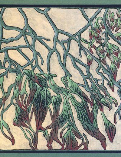 "Dogwood Fall, block print, colored pencil, 9"" x 9"""