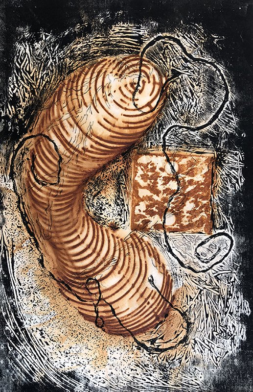 OneYear: Untitled II, Rust and Collograph Print
