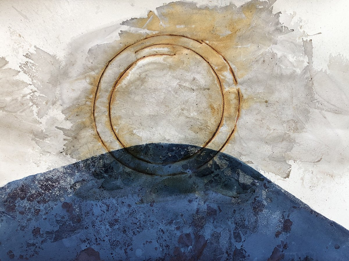 Rising-or Not, Rust print on indigo dyed paper, 15