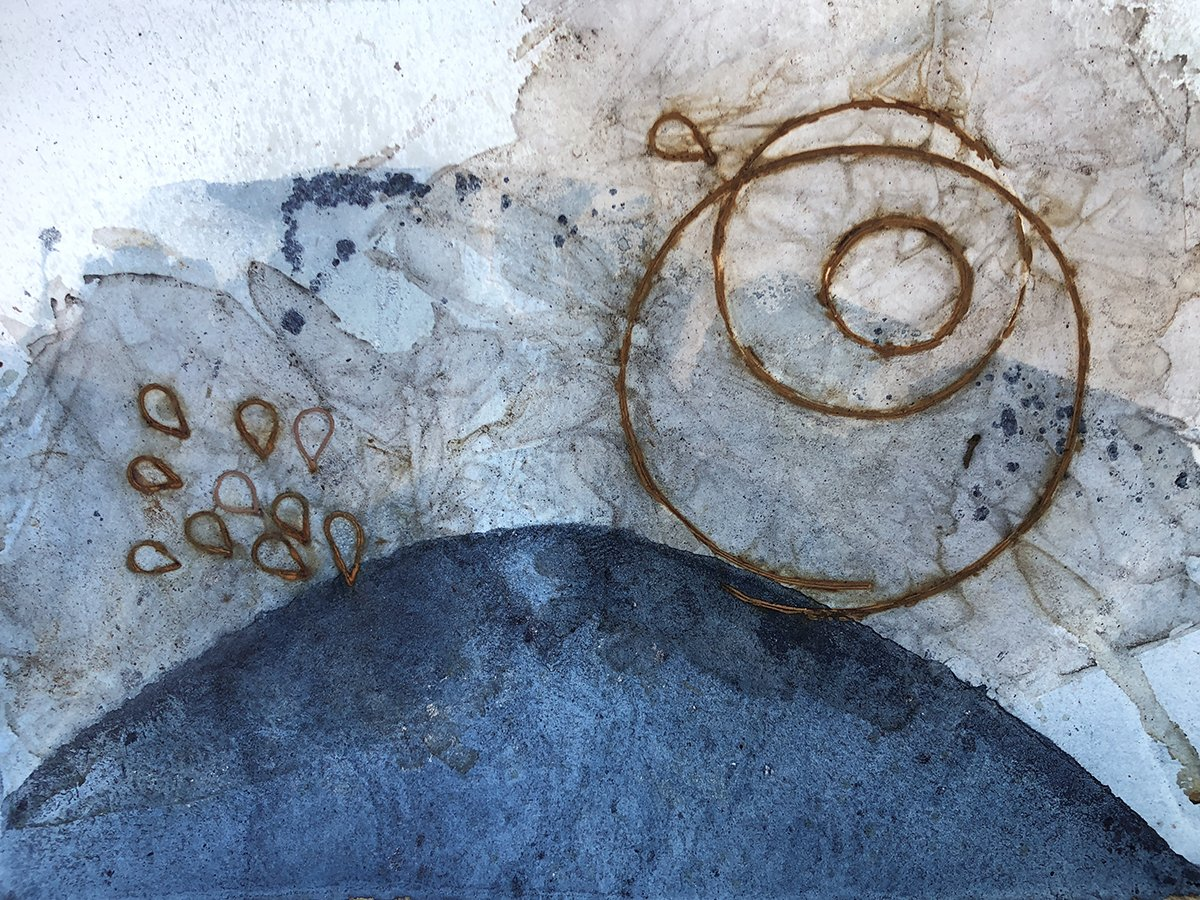 Seeds of Thought, Rust print on indigo dyed paper, 15
