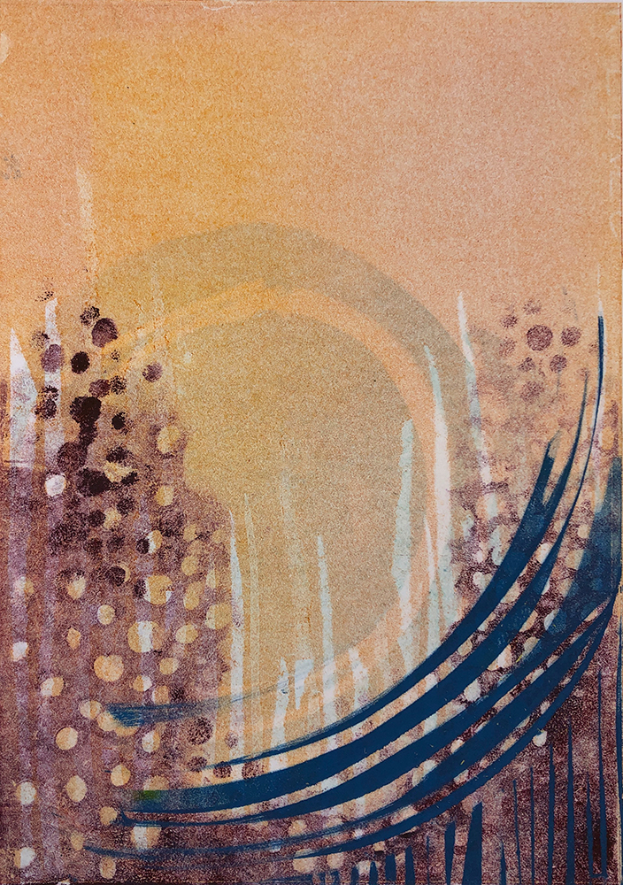 Thrown Stone- 7x10 Monoprint